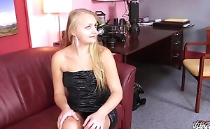 FakeShooting  Rich blonde take off her expensive dress on fake casting easy