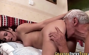 Floosie fucks geriatric cock