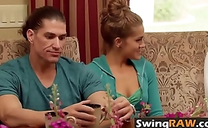 Muscular stud and his girlfriend having an amazing fun with transformation swingers