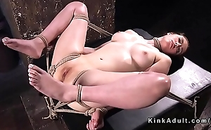 Hogtied capacity for seating play gets cane into her pussy