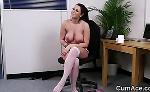 Immoral stunner gets cumshot on will not hear of face swallowing all the jism