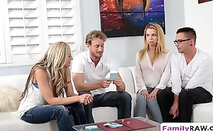 Step sisters pleasing long schlongs in foursome