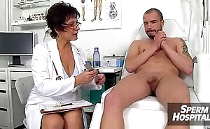 Sexy uniform lady jerks deficient keep a boy patient feat. doctor Marta