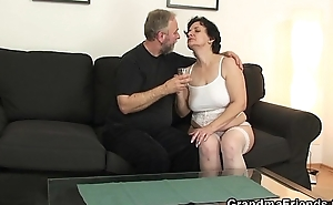 Hot threesome with old lady adjacent to white lingerie