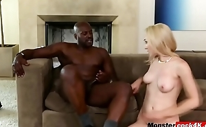 MONSTER BLACK COCK destroying blonde whore in doggy style position