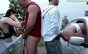 A pussy all the car window for anyone to fuck in public gang bang dogging