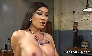 Asian shemale anal fucks and cums