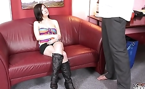 Fakeshooting Crazy young ill-lighted is surprised when fake agent show her big cock