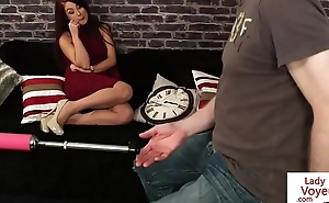 Glam euro humiliating a tugging guy