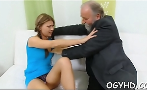 Lewd young babe screwed by gink