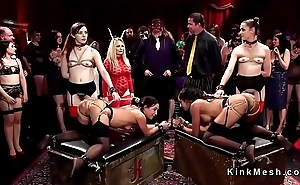 Group of hot slaves audience at kink ball