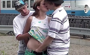 Cum in mouth of cute teen Alexis Crystal in public train station gang bang orgy