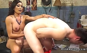 Tranny spanks and anal fucks here today