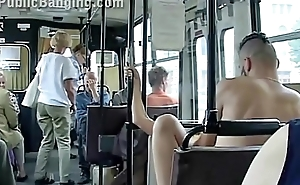 Extreme public sex in a city bus with all the passenger watching the clamp mad about