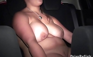 Big tits star Krystal Swift undressing in a car on the way to public platoon bang