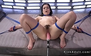 Hairy babe in ropes fucking gear