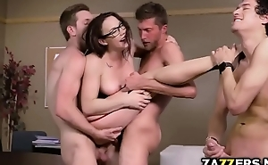 Academe double fucked in her pussy and anal