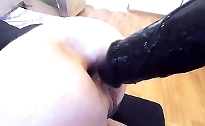 Fetish blonde playing with huge dildos added to big cock