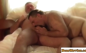 Solo of age bear jerking off in the balance jizzing