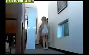 Blonde getting naked at public library - Vixcams.com